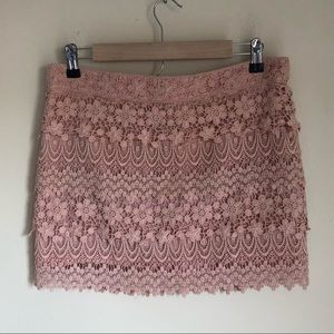 American Eagle gorgeous soft pink lace mini skirt